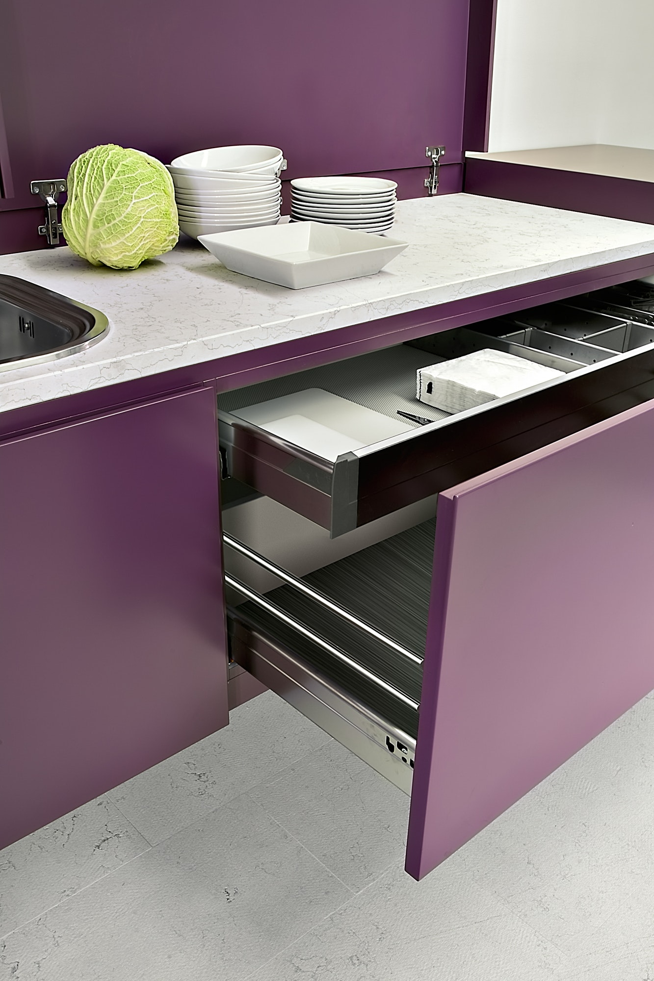 Close-up on the Opened Furniture in the Modern Kitchen